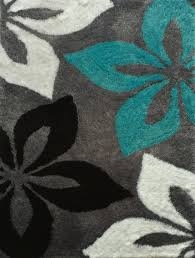 floral grey with turquoise indoor bedroom shag area rug rug