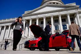 Utah travelling salesman images Tesla inspired bill to waive property requirement for licensing jpg