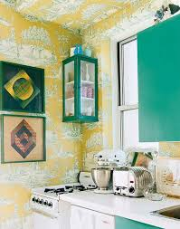 small kitchen designs in yellow and green colors accentuated with