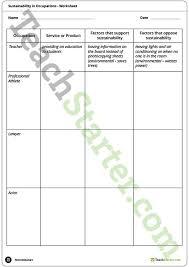 sustainability in occupations worksheet teaching resource u2013 teach