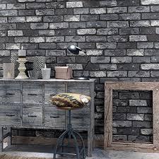 huangyahui retro nostalgic 3d dark grey brick wallpaper bar