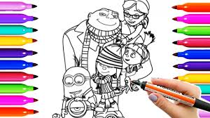 draw coloring pages despicable me 2017 family gru minions playing