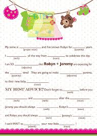 baby mad libs girl baby shower mad lib personalized mad lib baby girl