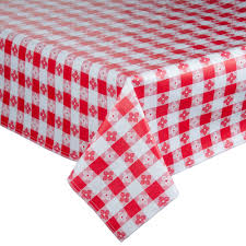 checkered vinyl table cover with flannel back