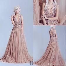 blush pink 3d lace applique backless prom dresses 2017 elie saab
