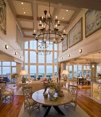 Dining Room Wall Murals High Ceiling Living Room Beach Style With Seating Area Rolling