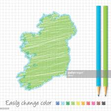 ireland map sketch with color pencils on grid paper vector art