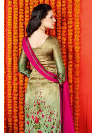 golden orange color golden color digital print party wear satin salwar kameez 1401 swg