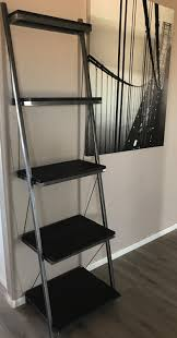 Industrial Bookcase With Ladder by Steel Leaning Shelf Wood Leaning Shelf Custom Shelf Industrial