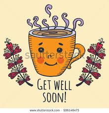 get well soon cards get well soon card cup tea stock vector 506148475