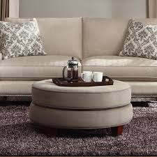 Klaussner Coffee Table by Transitional Double Disc Stacked Cushion Ottoman By Klaussner