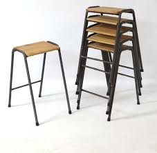 mid c20th vintage stacking lab stools or science stools