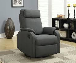 reclining swivel rocking chair amazon com monarch specialties charcoal grey linen fabric swivel