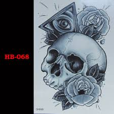 skeleton rose triangular temporary tatto waterproof men women