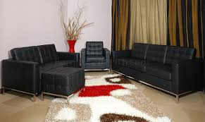 Black Leather Living Room Sets Full Leather Button Tufted 4pc Living Room Set