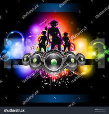 girls discoteque event flyer music themed stock illustration