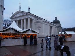 great backdrop for the christmas market vilnius lithuania