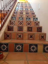 mexican tile staircase up the down staircase pinterest