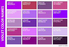 different shades of purple names gallery name different colors of purple women black hairstyle pics
