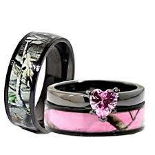 camo wedding bands his and hers his black pink titanium camo heart stainless steel engagement