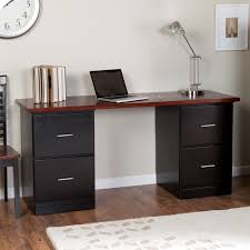 Corner Desk With Drawers by Black Painted Plywood Corner Desk With Two Tier Drawers Using Cpu