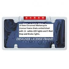 motorcycle license plate frame with led brake light license plate frame with led stop tail light carpy s cafe racers