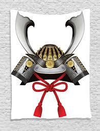 japanese decor tapestry wall hanging samurai helmet home decor ebay