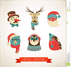 christmas background with hipster animals stock vector image