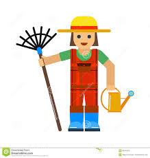 gardener man worker with sprinkle and rake manual grass yard