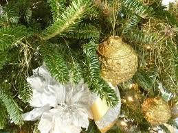 christmas tree decorations gold and christmas lights