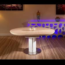 modern dining table oak veneer round oval extending 1050 1350mm