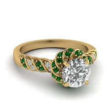 gold emerald engagement rings emerald twisted halo cut ring in 14k yellow gold
