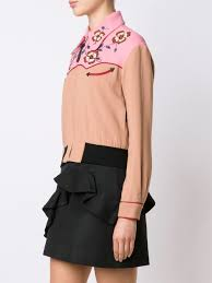 coach western inspired cropped bomber jacket women clothing
