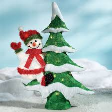 Outdoor Lighted Christmas Decorations by Christmas Tree Snowman Indoor Outdoor Lighted Sculpture
