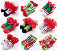 christmas gift bow 2016 baby socks new born christmas gift tulle bow lace santa