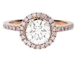 brilliant diamond rings images Certified round brilliant diamond halo engagement ring in 18k rose jpg
