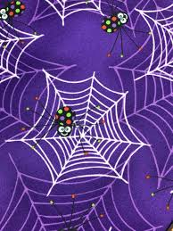 Glow In The Dark Halloween Fabric by Glow In The Dark Purple Spiders On Webs From The Fantastic Glows