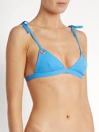 mara hoffman grommet triangle top womens pastel blue