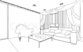 illustration of an outline sketch of a interior 3d graphical