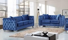 Modern Blue Sofa Meridian Furniture Reese 2pc Modern Tufted Light Blue Velvet Sofa