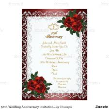 Invitation Cards For 40th Birthday Party 50th Wedding Anniversary Invitation Red Roses 5