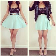 skirt black top mint mini skirt sandals date blouse