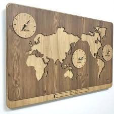 3 in 1 world map clocks modern wall decoration kitchen living