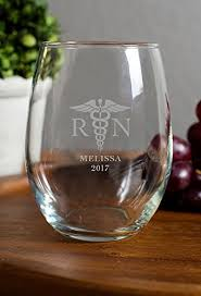 Graduation Wine Glasses Amazon Com Rn Nurse Medical Themed Stemless Wine Glass 15 Ounces