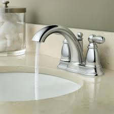 moen brantford two handle low arc centerset bathroom faucet with
