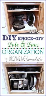 Organizing Pots And Pans In Kitchen Cabinets Diy Knock Organization For Pots Pans How To Organize Your