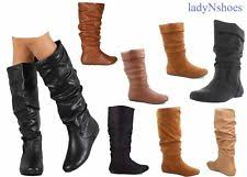 womens boots size 11 1 2 flat 0 to 1 2 in slouch boots slip on shoes for ebay