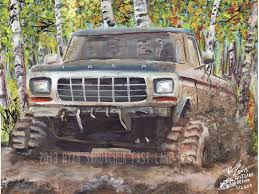 ford mudding trucks 1978 ford f150 mudding in the woods painting by