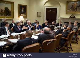 Barack Obama Cabinet Members Us President Barack Obama Listens To Secretary Of State John Kerry