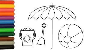 how to coloring beach ball sun umbrella shovel and pail summer